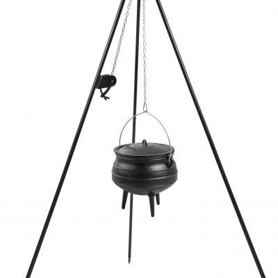 Cook King Kociołek afrykański żeliwny 9 l na trójnogu z kołowrotkiem 180 cm